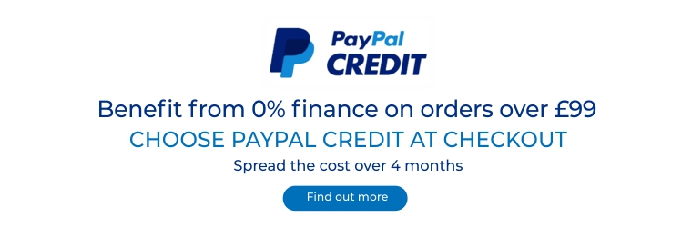 Spread the cost over 4 months and benefit from 0% finance on orders over £99. Choose PayPal Credit at Checkout! Read More.
