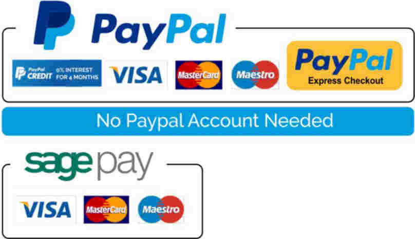 Payment methods available: SagePay, Paypal, Visa, Maestro, MasterCard