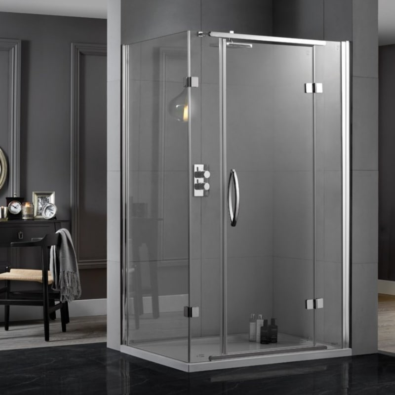 Inline-Hinged-Two-Sided-Square-Clear-Shower-Cubicle