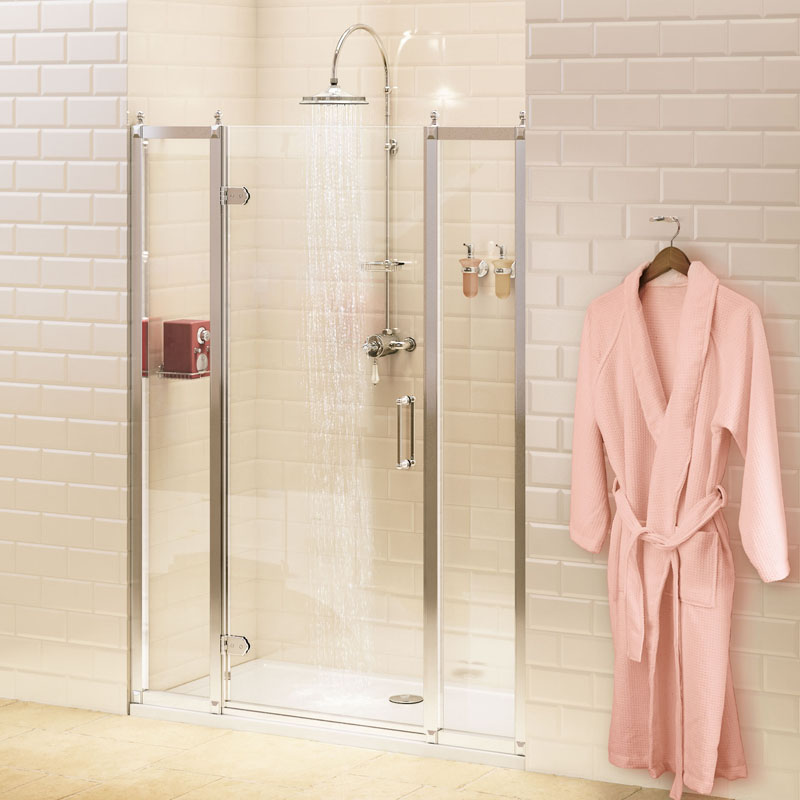 Hinged Shower Doors with Inline Shower Panels at Bathroom City