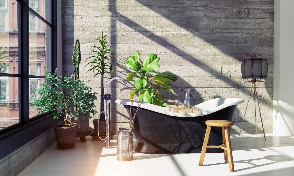 Bathroom-with-Bathtub-And-Green-Plants-Around