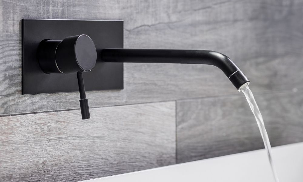 Image-Of-Black-Wall-Mounted-Bathroom-Tap