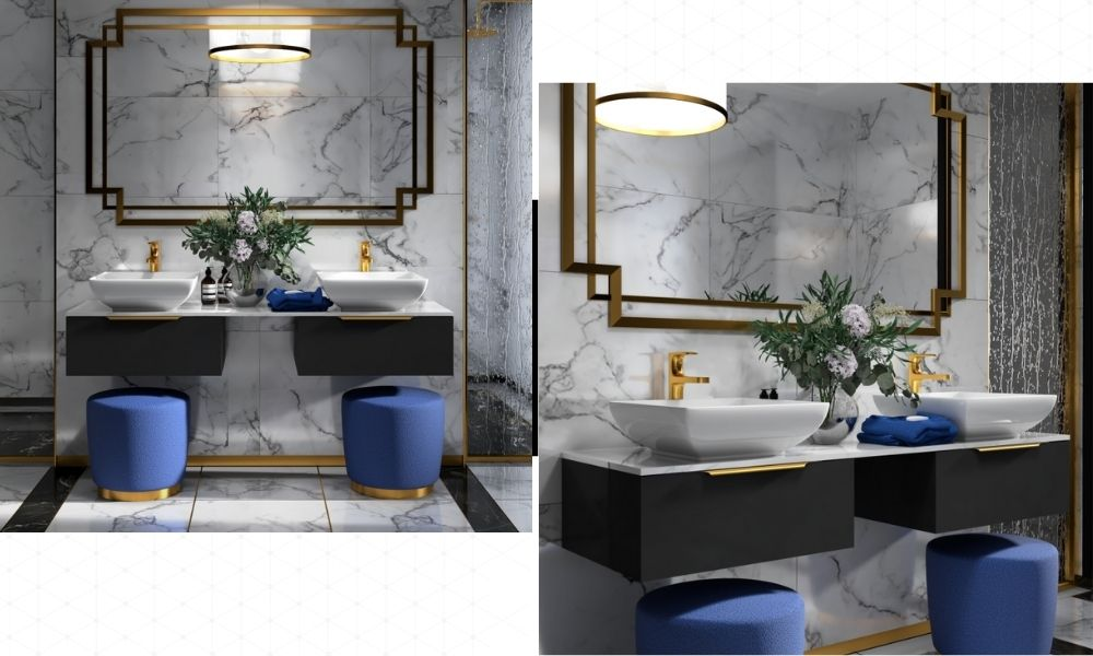 Copped-Gold-Colored-Double-Basin-Vanity-Units