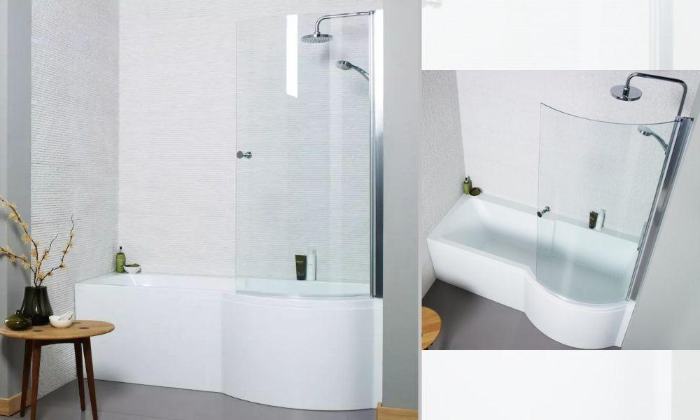 Ethan P Shaped Small Shower Bath White