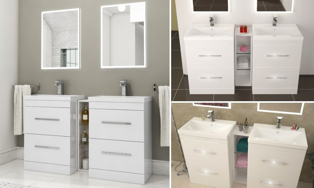 Freestanding-Double-Sink-Unit-with-Storage-4-Deep-Drawers-White-and-Grey-Options