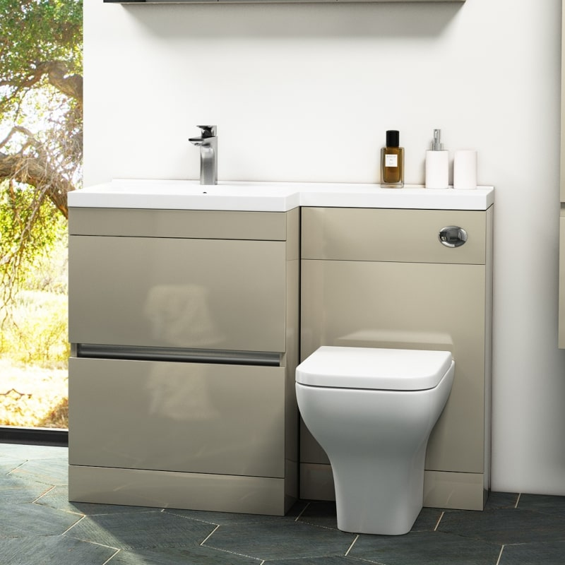 Gold Space Saving Bathroom Vanity Unit with Basin and Toilet