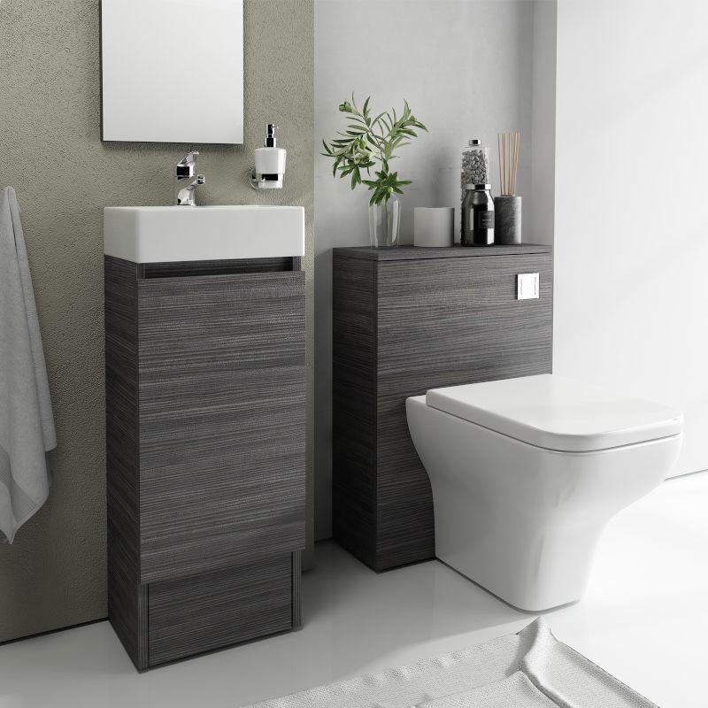 Grey Freestanding Corner Bathroom Suite