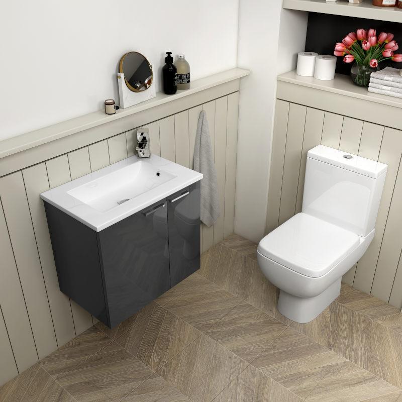 Grey Wall-Hung Small Vanity Unit and Toilet