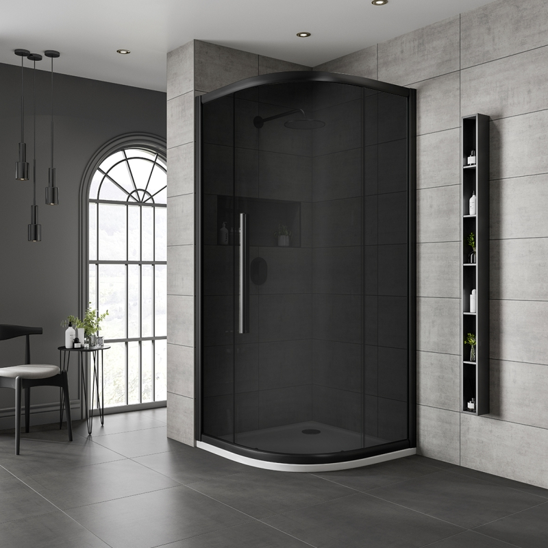Jaquar Black Quadrant Shower Enclosure with Dark Glass