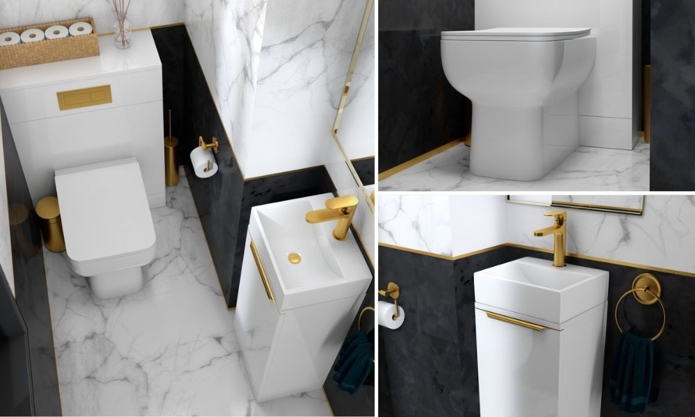White-Basin-And-Toilet-Unit-With-Gold-Taps-And-Handles