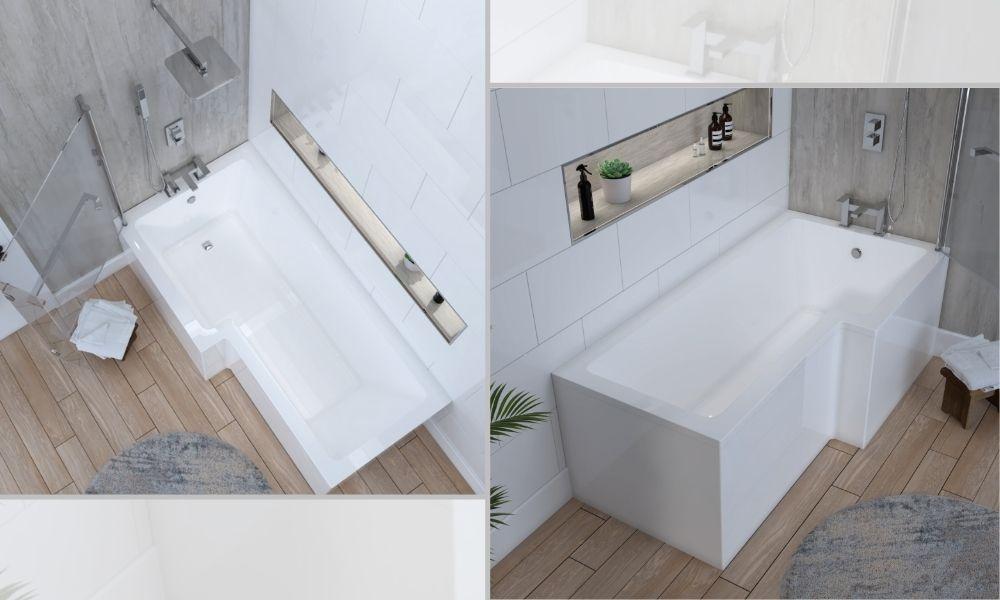 L Shaped Shower Bath White