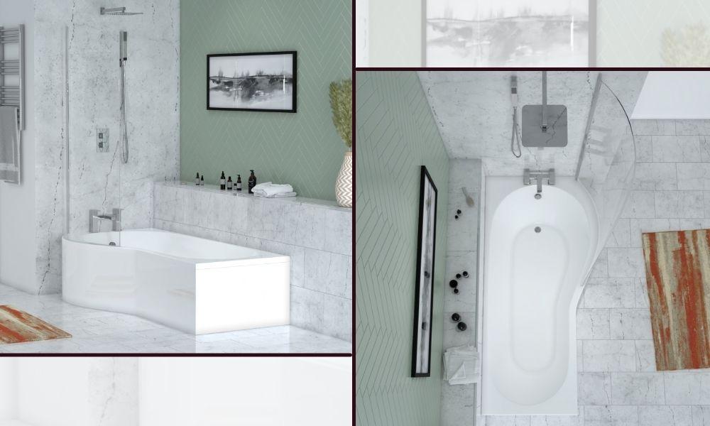 Patello P-Shaped Shower Bath 1700mm