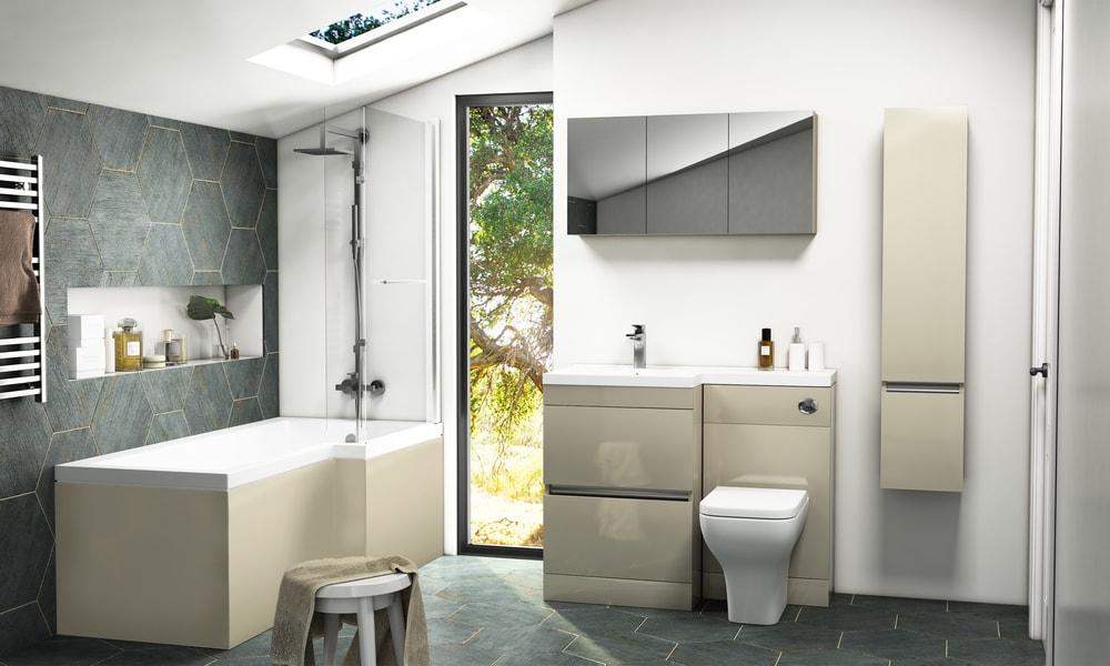 L-Shaped Shower Bath