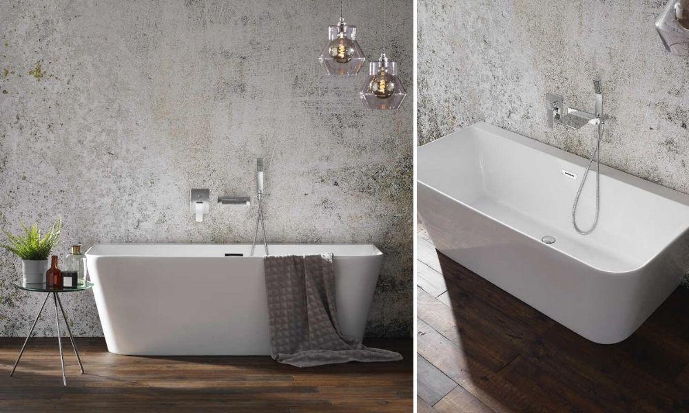 White-Luxury-Bath-Tub-Against-A-Grey-Wall
