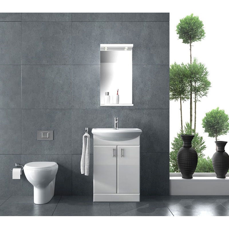 Modern Space Saving White Vanity Unit and Toilet for Compact Spaces