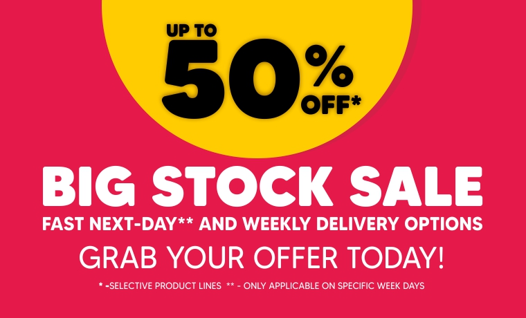 Up to 50% off on selected products on our big stock sale! Fast Next Day and weekly delivery options! Click here to see more info!