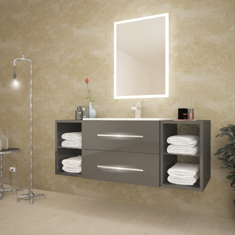 stylish wall hung anthracite bathroom unit with towel built in towel holders