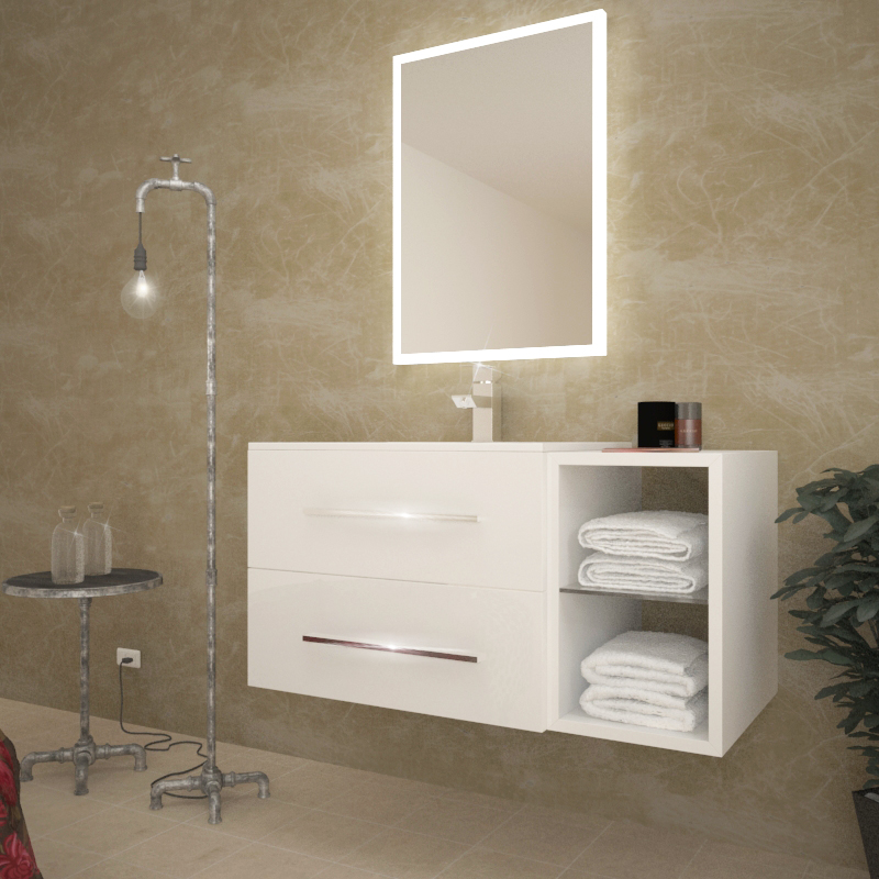 sonix 810 wall hung bathroom unit with mirror above in a beautiful bathroom setting