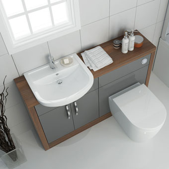 Lucido Fitted Bathroom Furniture Grey 1200