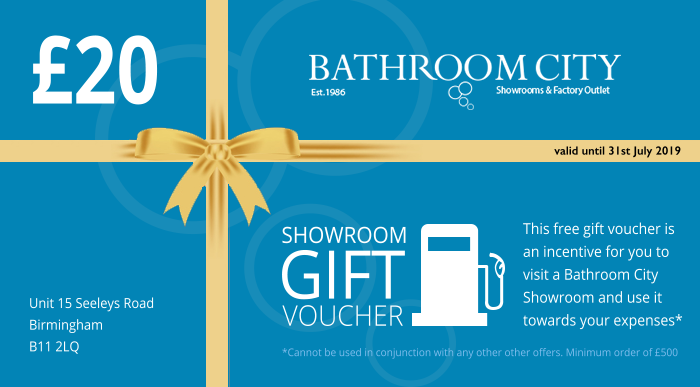 £20 Discount Voucher For Bathroom City Showroom solilhull birmingham