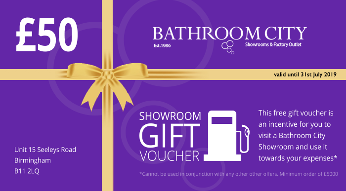 £50 Discount Voucher For Bathroom City Showroom solihull birmingham