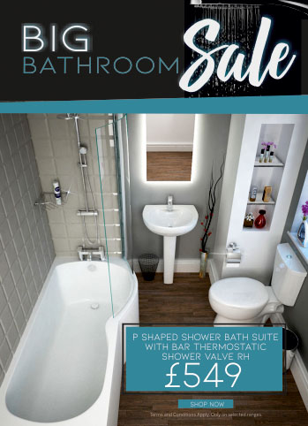 Big Bathroom Sale - Up to 50% off - P Shape Bath Suite with shower valve and taps - Now only £549