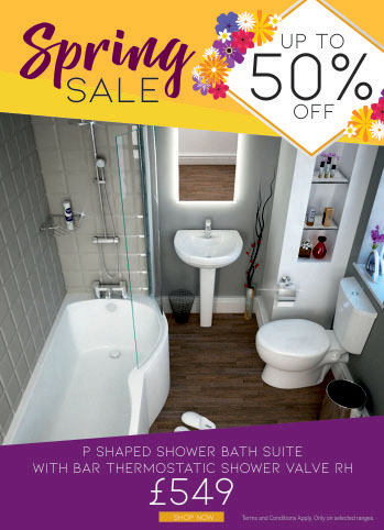 Spring Sale - Up to 50% off - P Shape Bath Suite with shower valve and taps - Now only £549