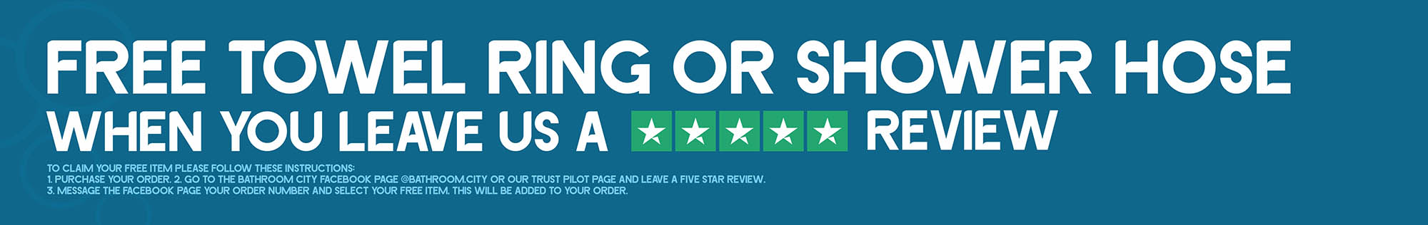 FREE towel ring or shower hose when you leave us a 5 star review