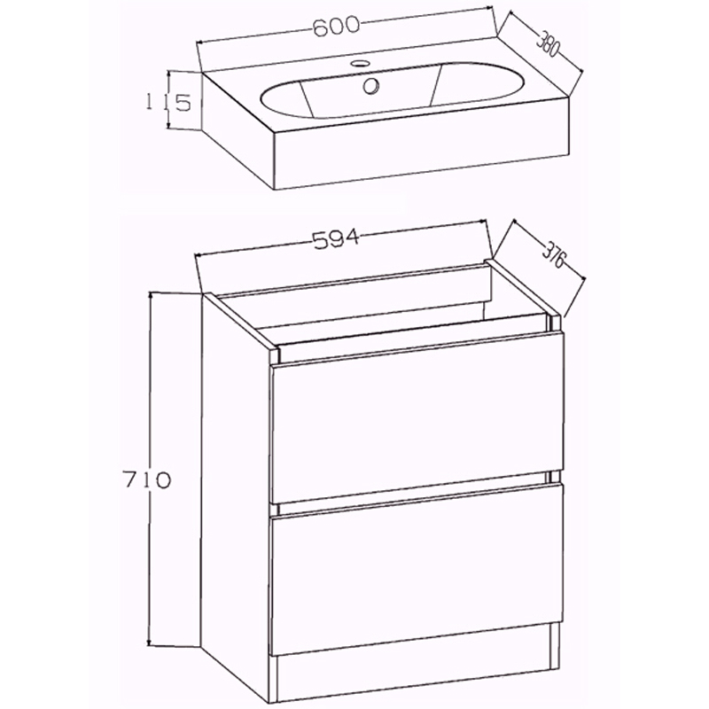 buy echo 60cm double draw floor mounted unit and basin online
