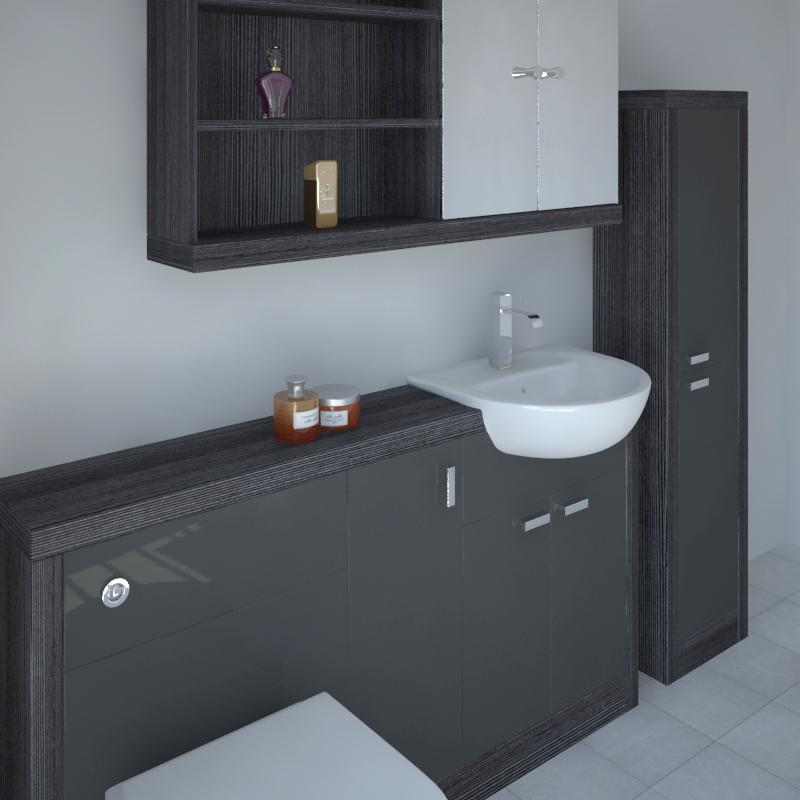 Fitted Bathroom Furniture Manufacturers: Bathroom Fitted Furniture 1500mm Hacienda Basin Unit Grey