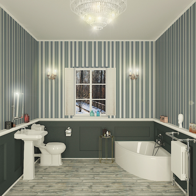 Clia 1500mm Corner LH Bath Suite with Traditional Toilet Basin and ...