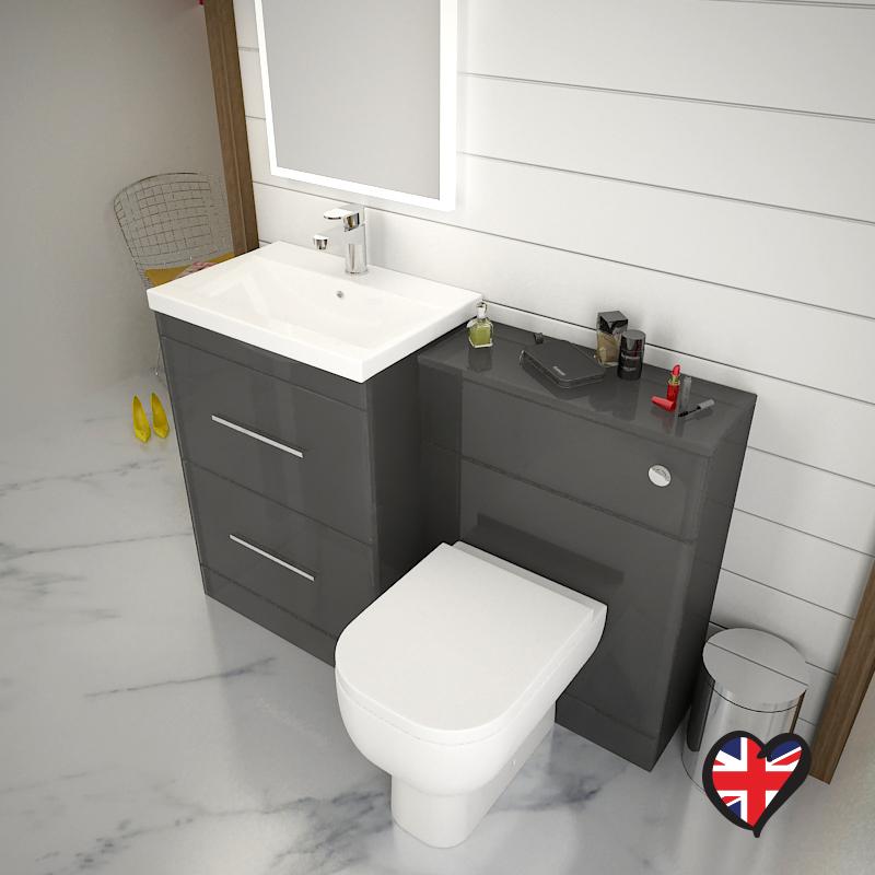 Bathroom Cloakroom 1200mm Patello Vanity Sink Unit Grey with Toilet ...
