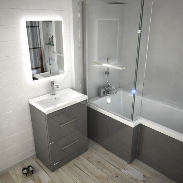 Complete Bathroom Patello Shower Bath Suite With Vanity