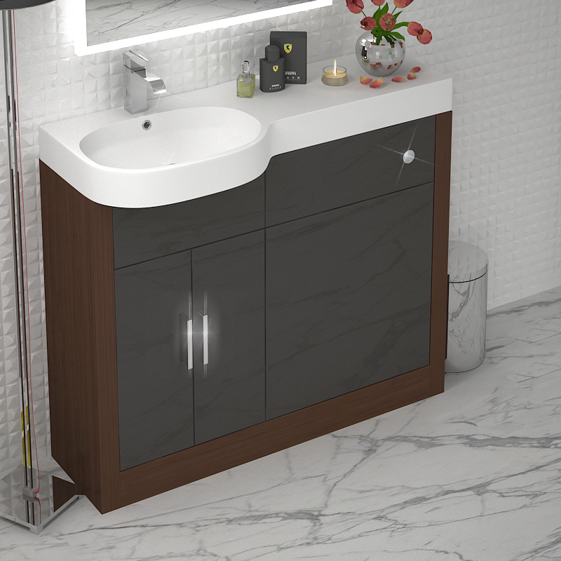 Fitted Bathroom Furniture Manufacturers: Cloakroom 1000mm Compact Vanity Sink BTW Unit Walnut Grey
