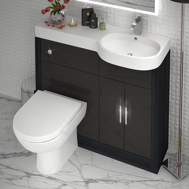 Bathroom Amp Cloakroom 1000mm Vanity Basin Btw Unit Grey