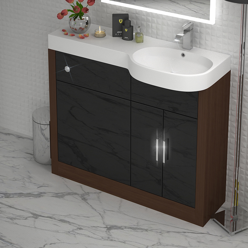 Fitted Bathroom Furniture Manufacturers: Bathroom Fitted Furniture 1000mm Lucido Unit Walnut Black
