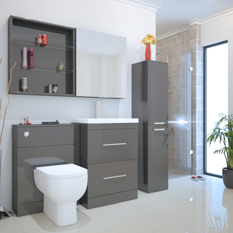 Grey Bathroom Furniture Uk: Bathroom Fitted Furniture 1450mm Patello Tallboy Cabinet