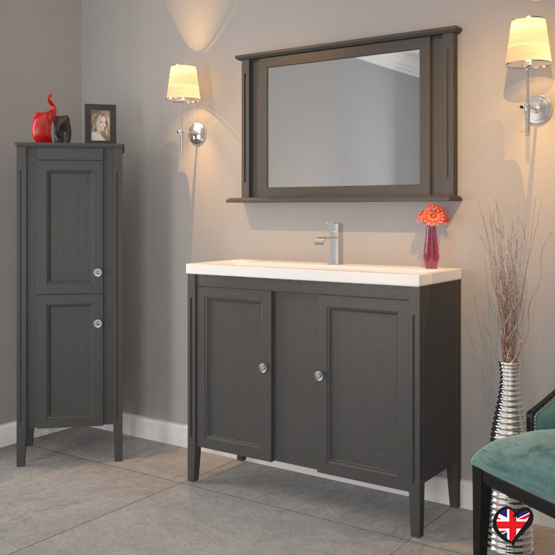 Grey Bathroom Furniture Uk: Traditional Bathroom Fitted Furniture 1000mm Oak Unit Grey
