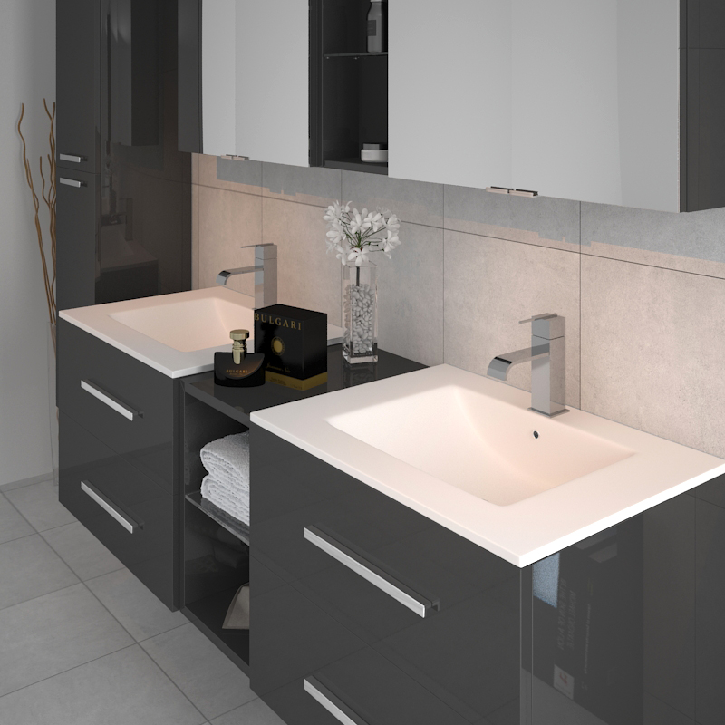Complete Bathroom Wall Hung Sonix Vanity Unit Double Sink ...