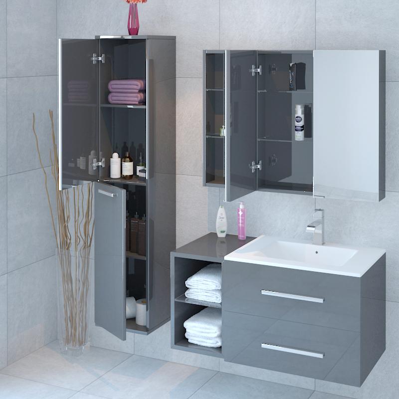 Bathroom Wall Hung Sonix 890mm Grey Vanity Unit With