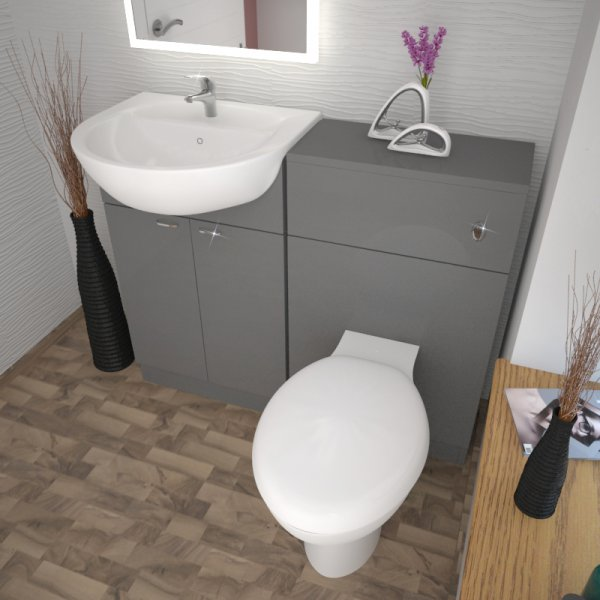 Bathroom Cloakroom 1000mm Yubo Grey Vanity Sink And Toilet Unit With Out Tap Ebay