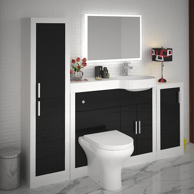 Fitted Bathroom Furniture Manufacturers: Apollo 1000mm Bathroom Vanity & BTW Unit White Black