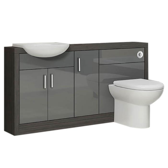 Bathroom 1500mm Vanity Storage Cabinet Sink Unit Grey ...