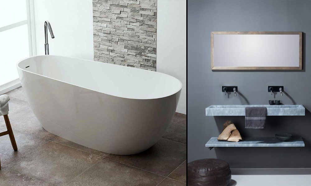 Image of a White Freestanding Bath & Stone Sink
