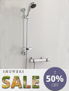 10 year quarantee square deluxe thermostatic shower and riser- featured menu