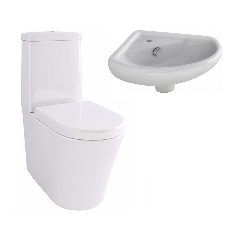 Arco Close Coupled Wc And Hand Basin With Fixings And Soft