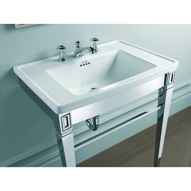 Adare Chrome Finish Washbasin Stand with Radcliffe Vanity Basin Included  for Modern Bathroom
