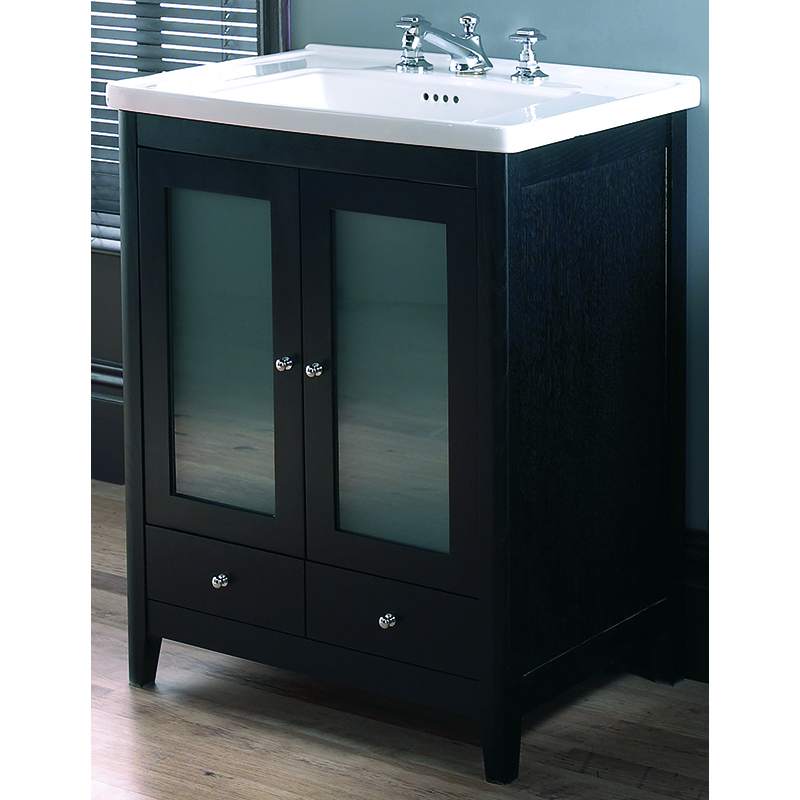 Radcliffe vanity unit 2 wooden frosted glass doors 2 - Bathroom vanity with frosted glass doors ...