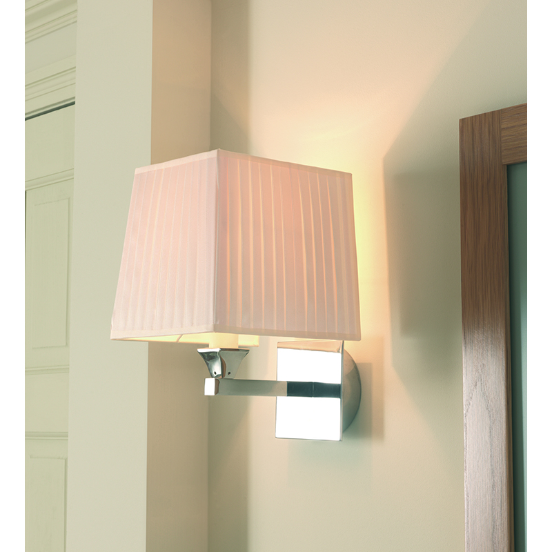 Astoria Wall Lamp With Square Open Backed Flat Pleated Cotton Shade Buy Online at Bathroom City