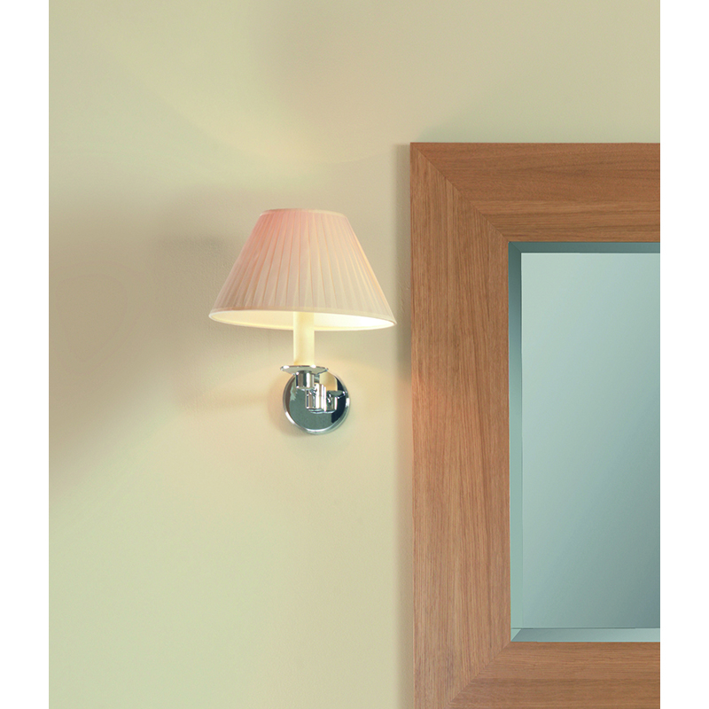 Brokton Wall Light With Flat Pleated Cotton Shade